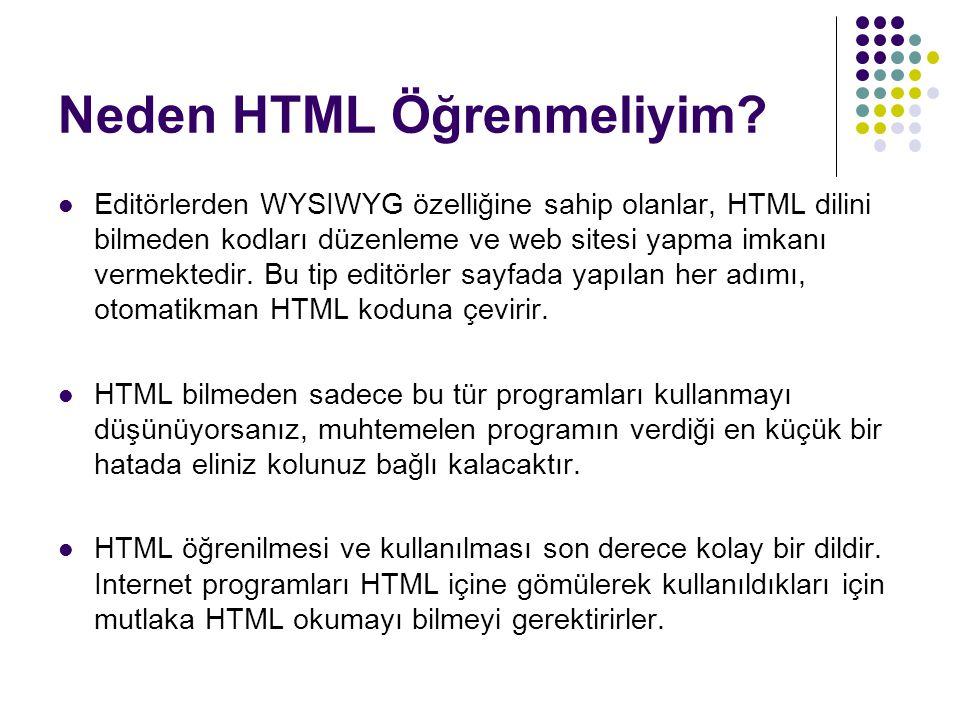 Neden HTML Öğrenmeliyim? Editörlerden WYSIWYG özelliğine sahip olanlar, HTML dilini bilmeden kodları düzenleme ve web sitesi yapma imkanı vermektedir.