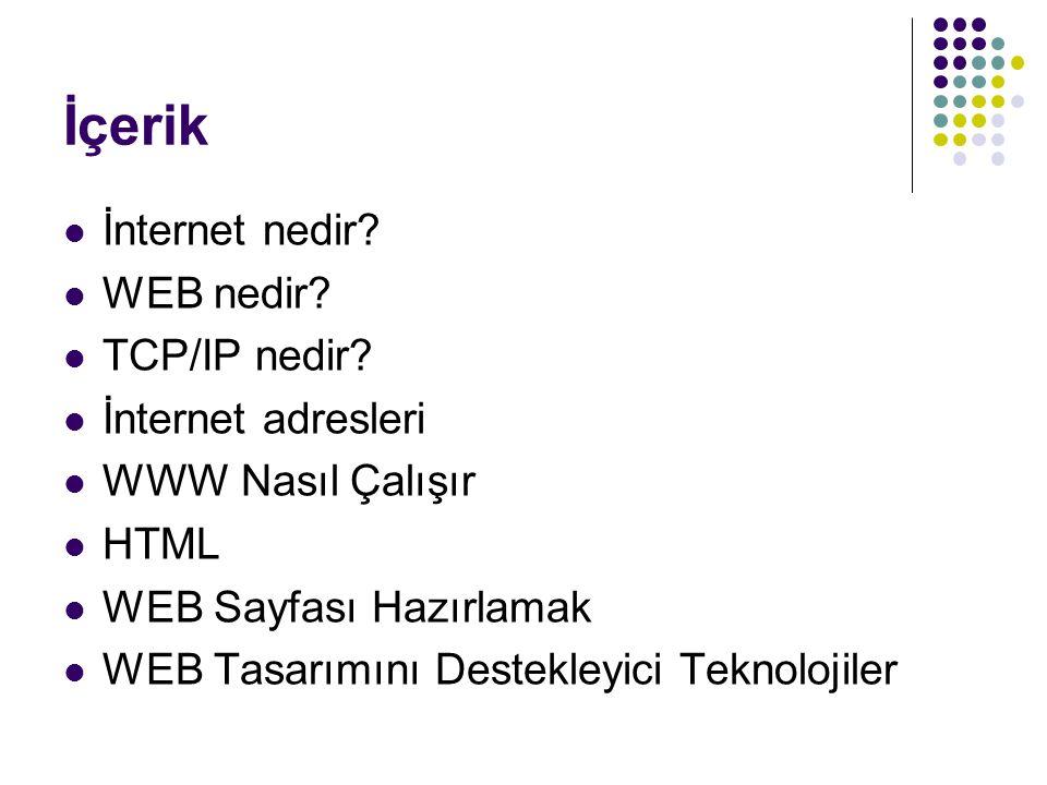 İçerik İnternet nedir? WEB nedir? TCP/IP nedir? İnternet adresleri WWW Nasıl Çalışır HTML WEB Sayfası Hazırlamak WEB Tasarımını Destekleyici Teknoloji