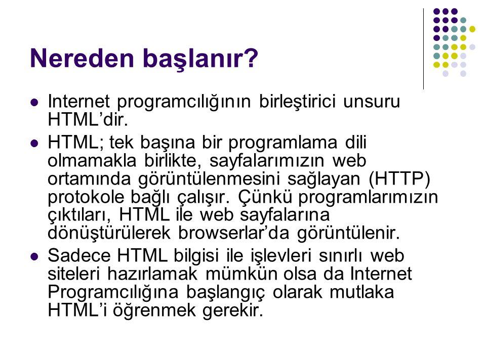 Nereden başlanır? Internet programcılığının birleştirici unsuru HTML'dir. HTML; tek başına bir programlama dili olmamakla birlikte, sayfalarımızın web