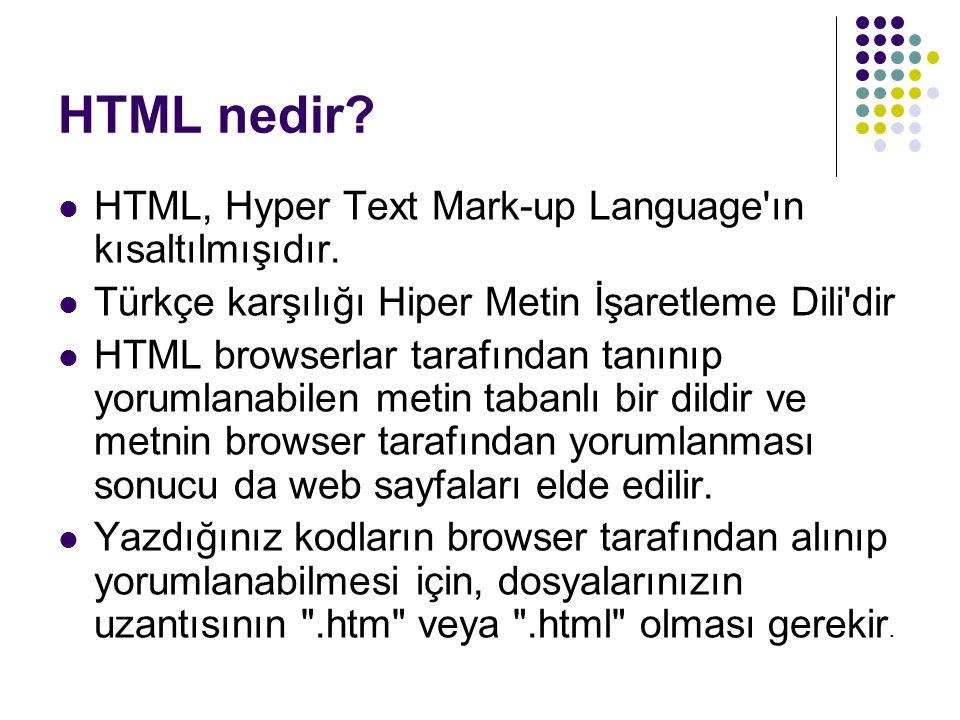 HTML nedir? HTML, Hyper Text Mark-up Language'ın kısaltılmışıdır. Türkçe karşılığı Hiper Metin İşaretleme Dili'dir HTML browserlar tarafından tanınıp