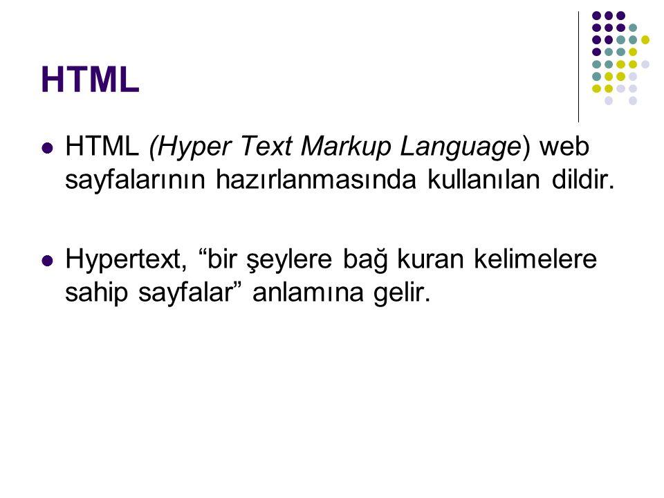"""HTML HTML (Hyper Text Markup Language) web sayfalarının hazırlanmasında kullanılan dildir. Hypertext, """"bir şeylere bağ kuran kelimelere sahip sayfalar"""