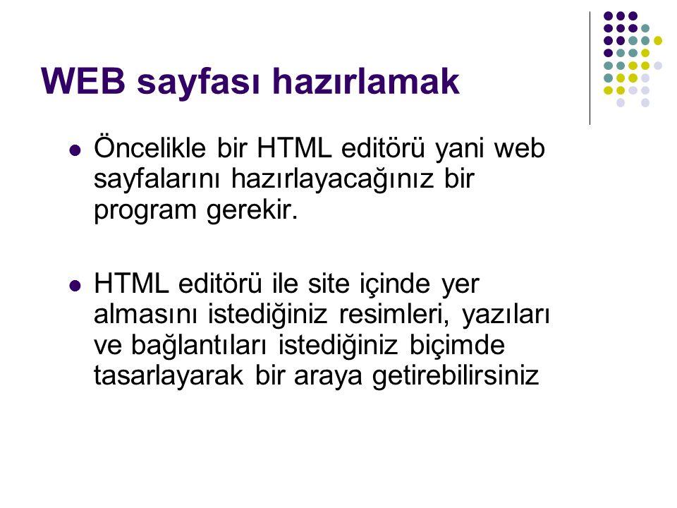 WEB sayfası hazırlamak Öncelikle bir HTML editörü yani web sayfalarını hazırlayacağınız bir program gerekir. HTML editörü ile site içinde yer almasını