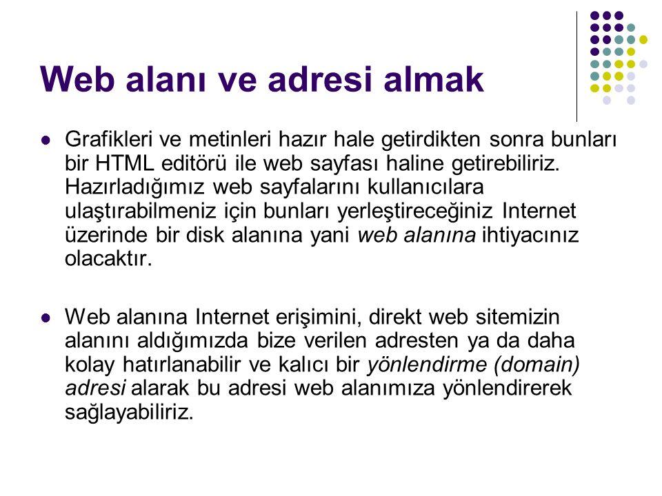 Web alanı ve adresi almak Grafikleri ve metinleri hazır hale getirdikten sonra bunları bir HTML editörü ile web sayfası haline getirebiliriz.