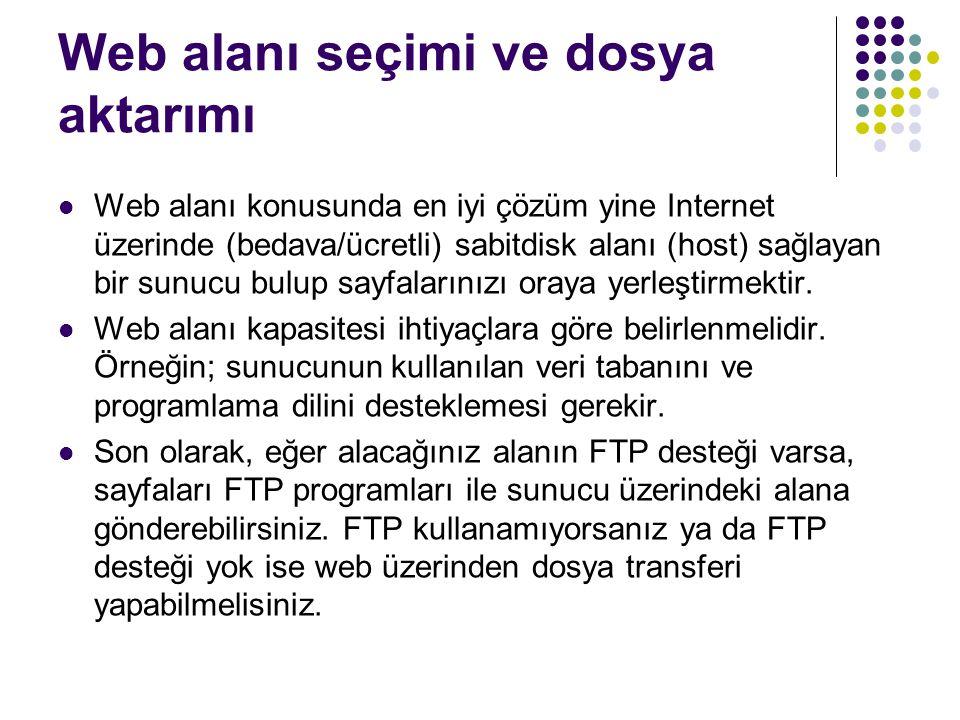 Web alanı seçimi ve dosya aktarımı Web alanı konusunda en iyi çözüm yine Internet üzerinde (bedava/ücretli) sabitdisk alanı (host) sağlayan bir sunucu