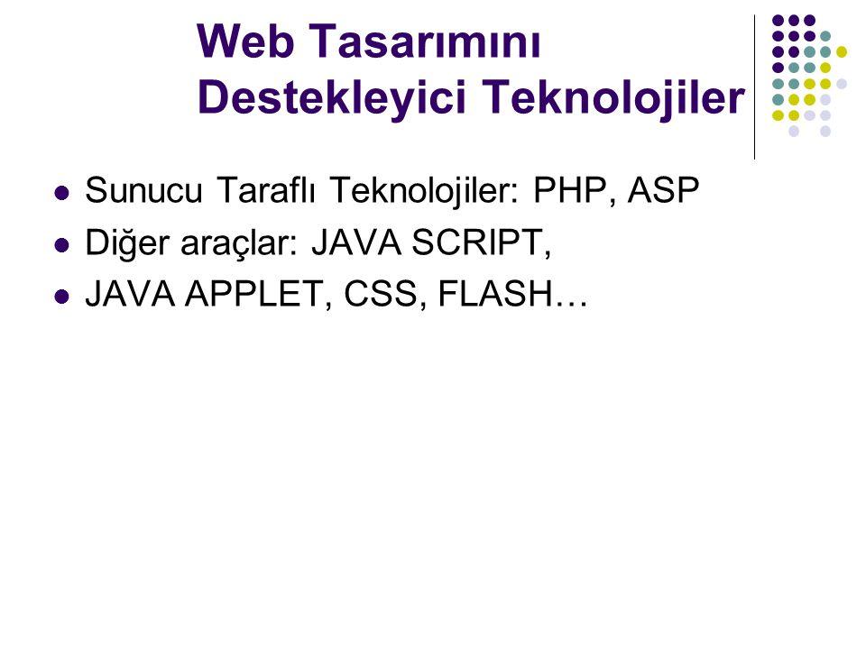 Web Tasarımını Destekleyici Teknolojiler Sunucu Taraflı Teknolojiler: PHP, ASP Diğer araçlar: JAVA SCRIPT, JAVA APPLET, CSS, FLASH…