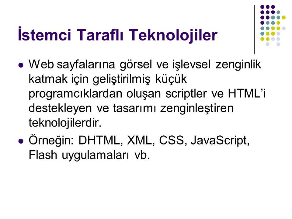 İstemci Taraflı Teknolojiler Web sayfalarına görsel ve işlevsel zenginlik katmak için geliştirilmiş küçük programcıklardan oluşan scriptler ve HTML'i