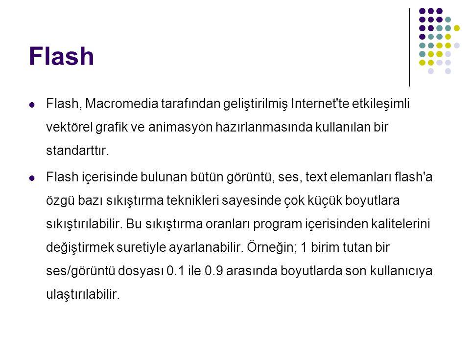 Flash Flash, Macromedia tarafından geliştirilmiş Internet'te etkileşimli vektörel grafik ve animasyon hazırlanmasında kullanılan bir standarttır. Flas