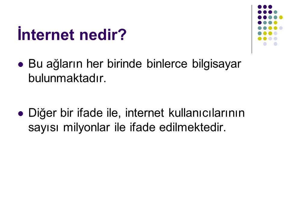 İnternet nedir? Bu ağların her birinde binlerce bilgisayar bulunmaktadır. Diğer bir ifade ile, internet kullanıcılarının sayısı milyonlar ile ifade ed