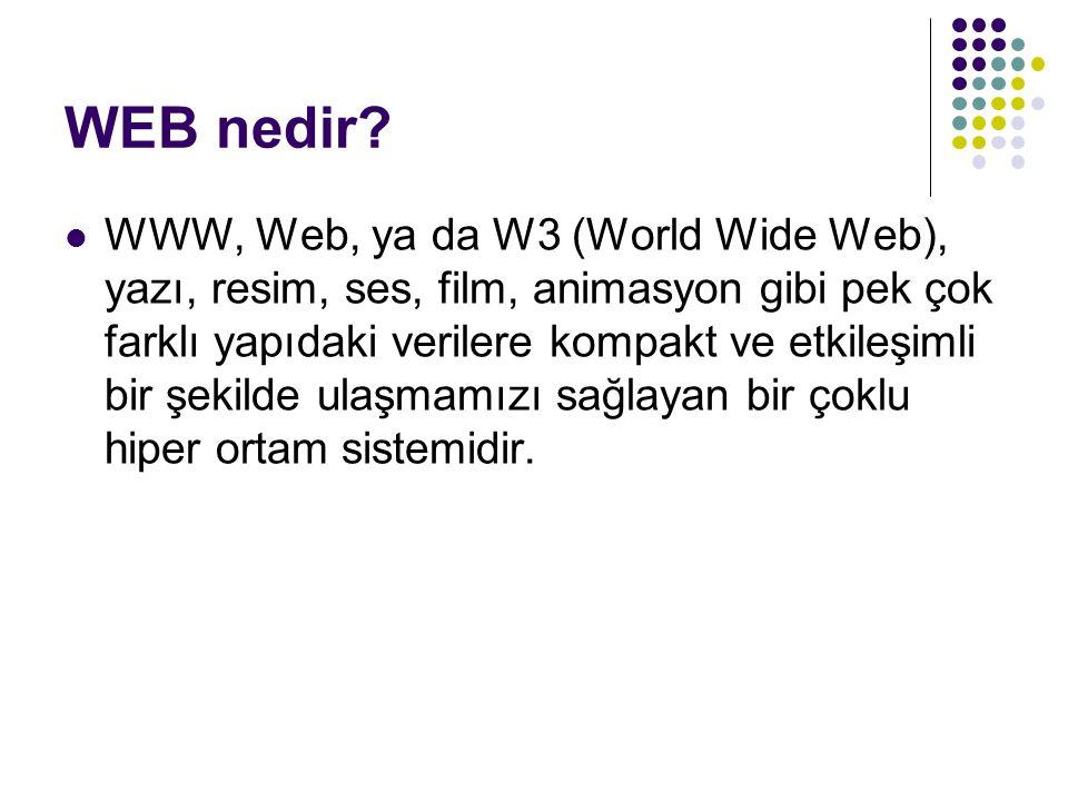 WEB nedir? WWW, Web, ya da W3 (World Wide Web), yazı, resim, ses, film, animasyon gibi pek çok farklı yapıdaki verilere kompakt ve etkileşimli bir şek