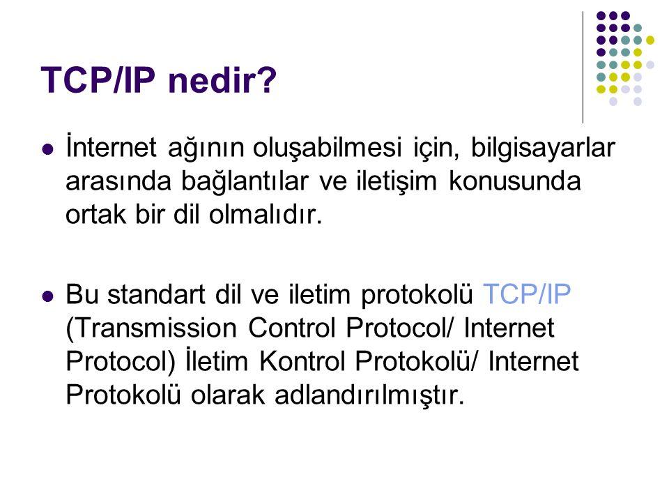TCP/IP nedir? İnternet ağının oluşabilmesi için, bilgisayarlar arasında bağlantılar ve iletişim konusunda ortak bir dil olmalıdır. Bu standart dil ve