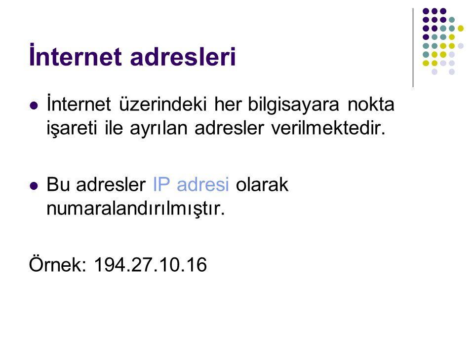 İnternet adresleri İnternet üzerindeki her bilgisayara nokta işareti ile ayrılan adresler verilmektedir. Bu adresler IP adresi olarak numaralandırılmı