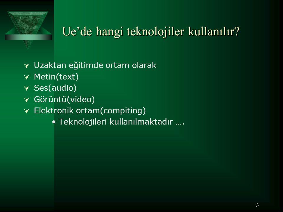 4 Teknolojilerin dağıtım yolları Uzaktan eğitimde kullanılan teknolojiler bir takım dağıtım yollarına sahiptir Bunlar; Ses Görüntü Veri Basılı Materyal