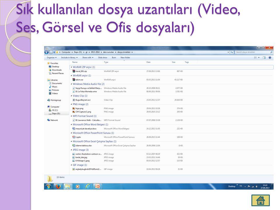Sık kullanılan dosya uzantıları (Video, Ses, Görsel ve Ofis dosyaları)