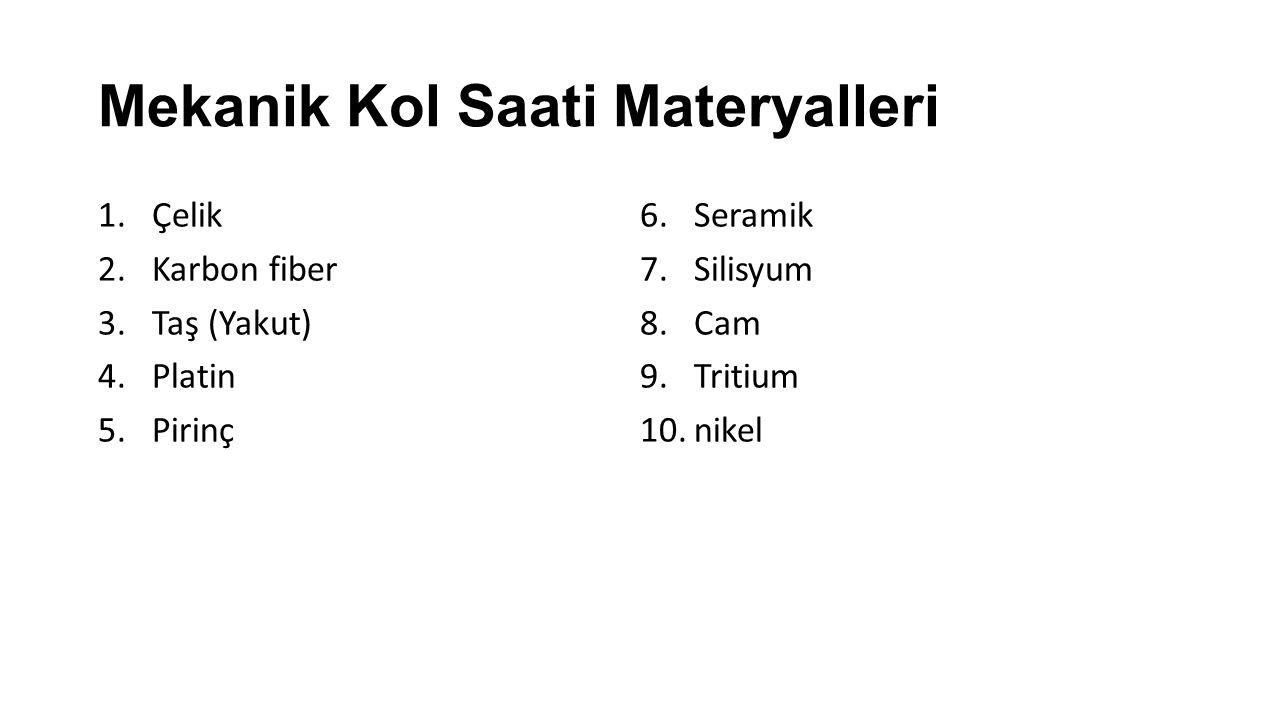 Mekanik Kol Saati Materyalleri 1.Çelik 2.Karbon fiber 3.Taş (Yakut) 4.Platin 5.Pirinç 6.Seramik 7.Silisyum 8.Cam 9.Tritium 10.nikel