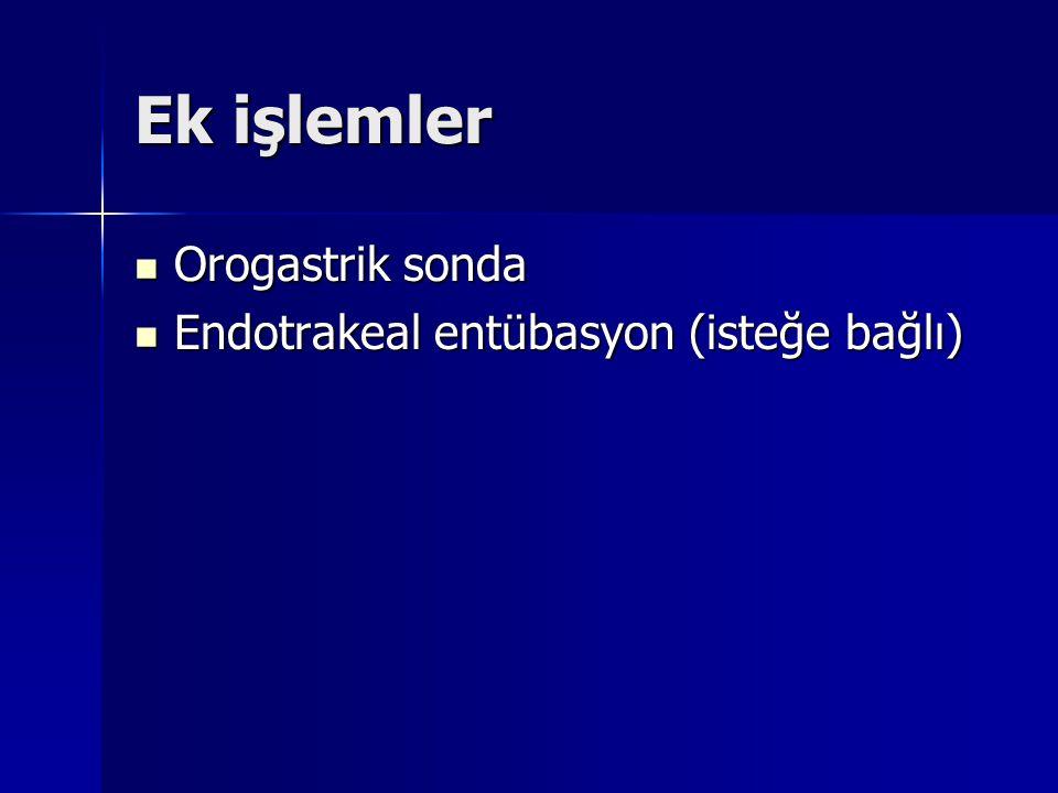 Ek işlemler Orogastrik sonda Orogastrik sonda Endotrakeal entübasyon (isteğe bağlı) Endotrakeal entübasyon (isteğe bağlı)