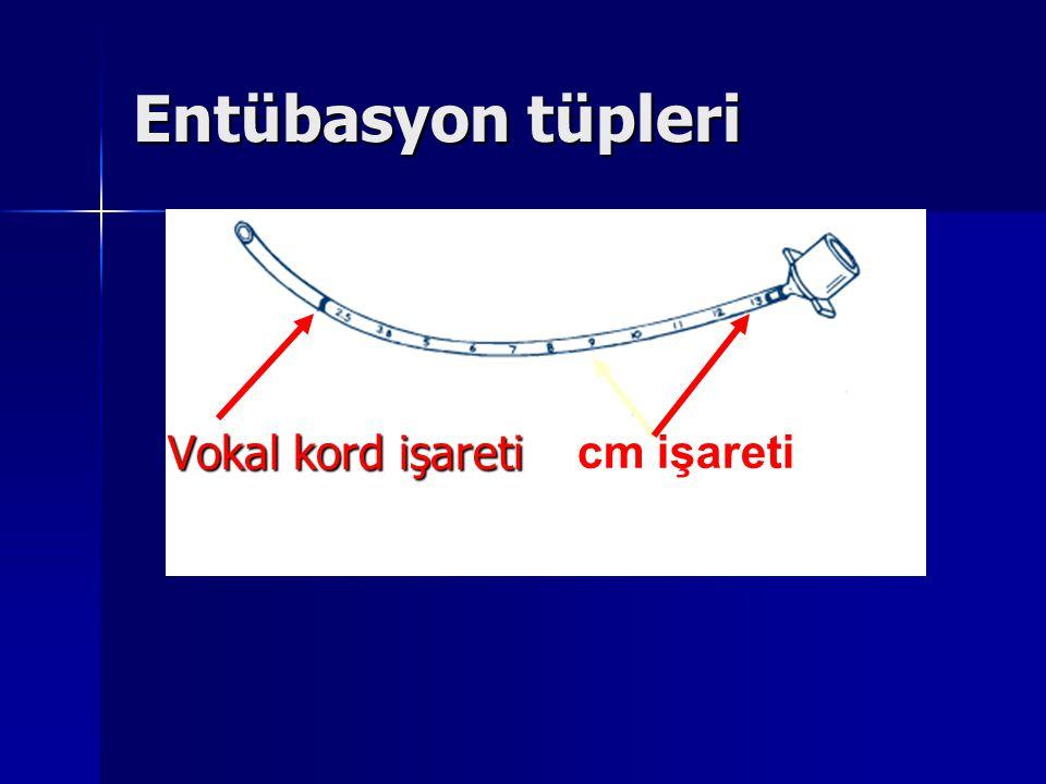Entübasyon tüpleri Vokal kord işareti cm işareti