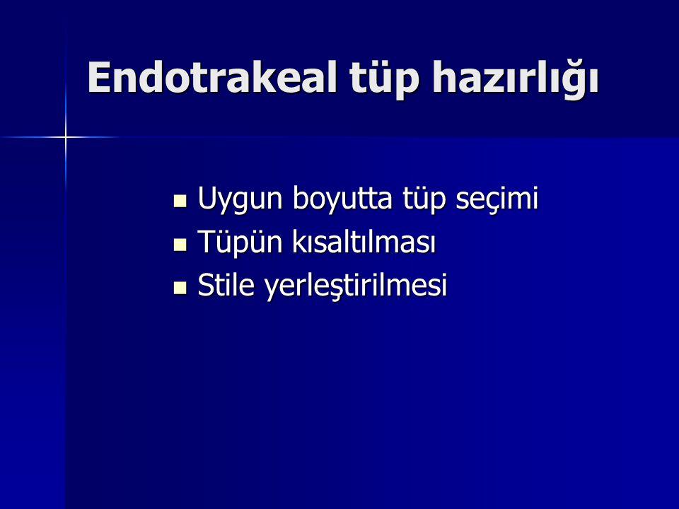 Endotrakeal tüp hazırlığı Uygun boyutta tüp seçimi Uygun boyutta tüp seçimi Tüpün kısaltılması Tüpün kısaltılması Stile yerleştirilmesi Stile yerleştirilmesi