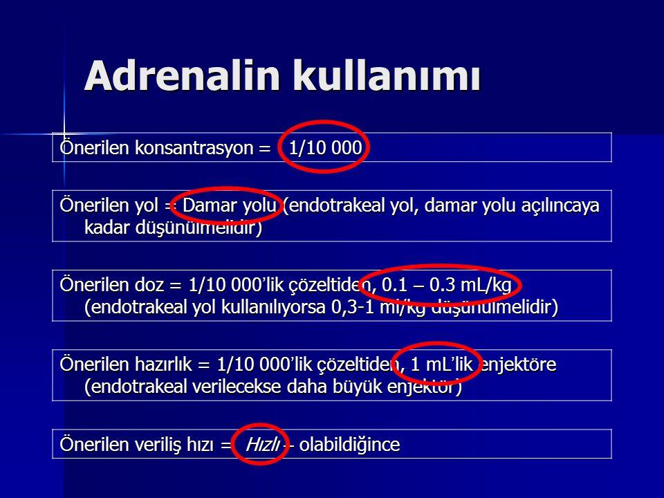 Adrenalin kullanımı Ö nerilen konsantrasyon = 1/10 000 Ö nerilen yol = Damar yolu (endotrakeal yol, damar yolu a ç ılıncaya kadar d ü ş ü n ü lmelidir) Ö nerilen doz = 1/10 000 ' lik çö zeltiden, 0.1 – 0.3 mL/kg (endotrakeal yol kullanılıyorsa 0,3-1 ml/kg d ü ş ü n ü lmelidir) Ö nerilen hazırlık = 1/10 000 ' lik çö zeltiden, 1 mL ' lik enjekt ö re (endotrakeal verilecekse daha b ü y ü k enjekt ö r) Ö nerilen veriliş hızı = Hızlı – olabildiğince