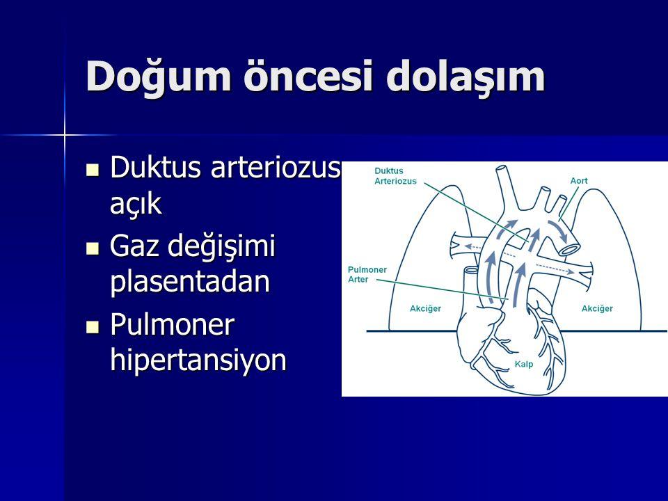 Doğum öncesi dolaşım Duktus arteriozus açık Duktus arteriozus açık Gaz değişimi plasentadan Gaz değişimi plasentadan Pulmoner hipertansiyon Pulmoner h