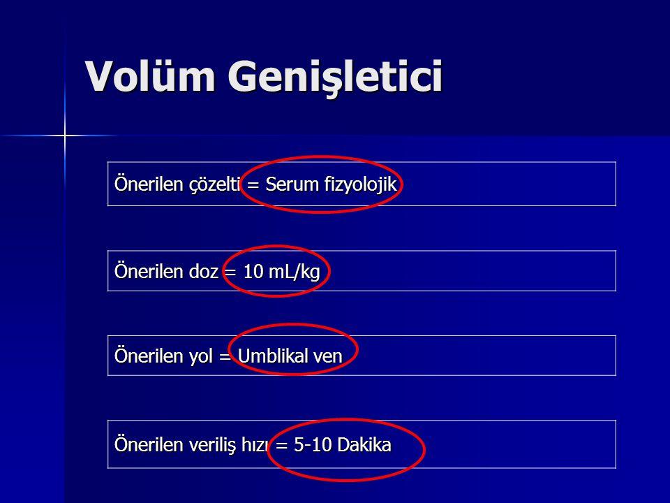 Volüm Genişletici Önerilen çözelti = Serum fizyolojik Önerilen doz = 10 mL/kg Önerilen yol = Umblikal ven Önerilen veriliş hızı = 5-10 Dakika