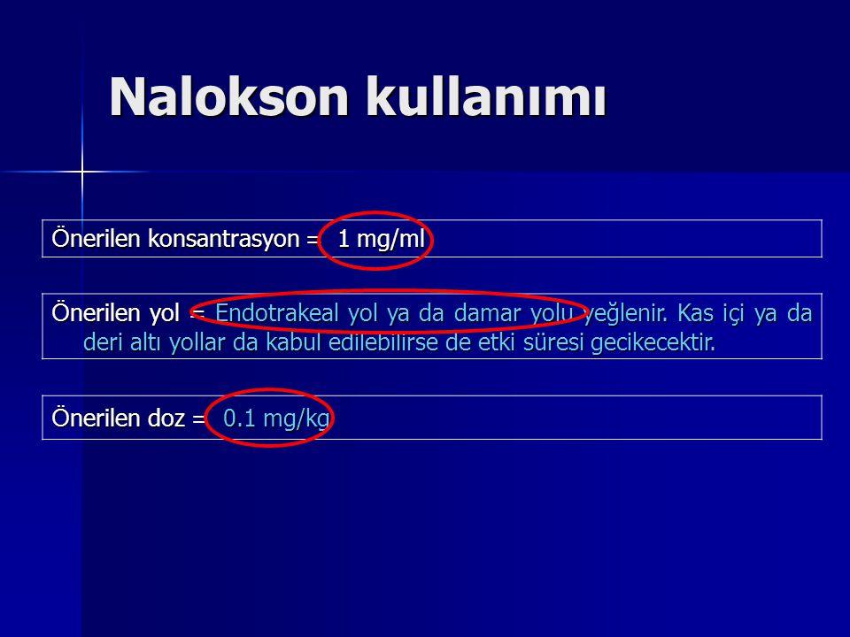 Nalokson kullanımı Ö nerilen konsantrasyon = 1 mg/ml Ö nerilen yol = Endotrakeal yol ya da damar yolu yeğlenir. Kas içi ya da deri altı yollar da kabu