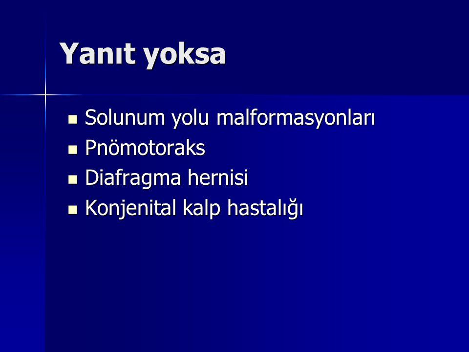 Yanıt yoksa Solunum yolu malformasyonları Solunum yolu malformasyonları Pnömotoraks Pnömotoraks Diafragma hernisi Diafragma hernisi Konjenital kalp hastalığı Konjenital kalp hastalığı