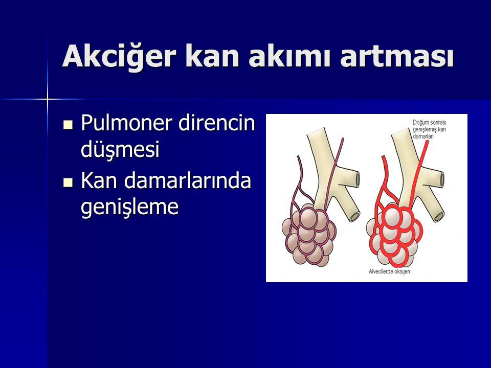 Akciğer kan akımı artması Pulmoner direncin düşmesi Pulmoner direncin düşmesi Kan damarlarında genişleme Kan damarlarında genişleme