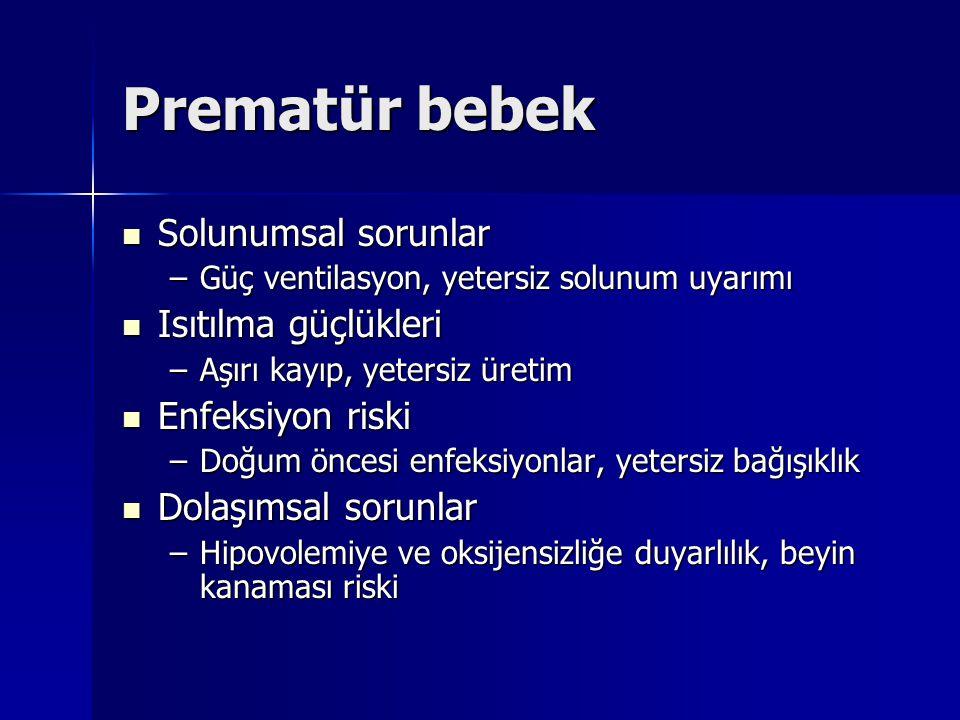 Prematür bebek Solunumsal sorunlar Solunumsal sorunlar –Güç ventilasyon, yetersiz solunum uyarımı Isıtılma güçlükleri Isıtılma güçlükleri –Aşırı kayıp