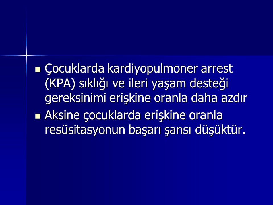 Çocuklarda kardiyopulmoner arrest (KPA) sıklığı ve ileri yaşam desteği gereksinimi erişkine oranla daha azdır Çocuklarda kardiyopulmoner arrest (KPA)