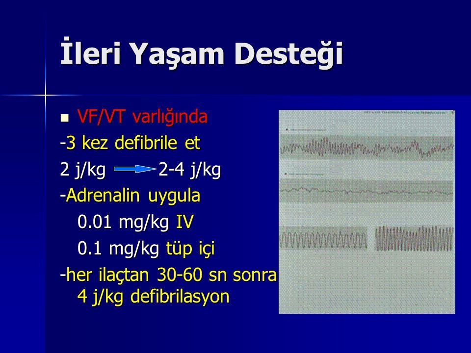 İleri Yaşam Desteği VF/VT varlığında VF/VT varlığında -3 kez defibrile et 2 j/kg 2-4 j/kg -Adrenalin uygula 0.01 mg/kg IV 0.01 mg/kg IV 0.1 mg/kg tüp içi -her ilaçtan 30-60 sn sonra 4 j/kg defibrilasyon