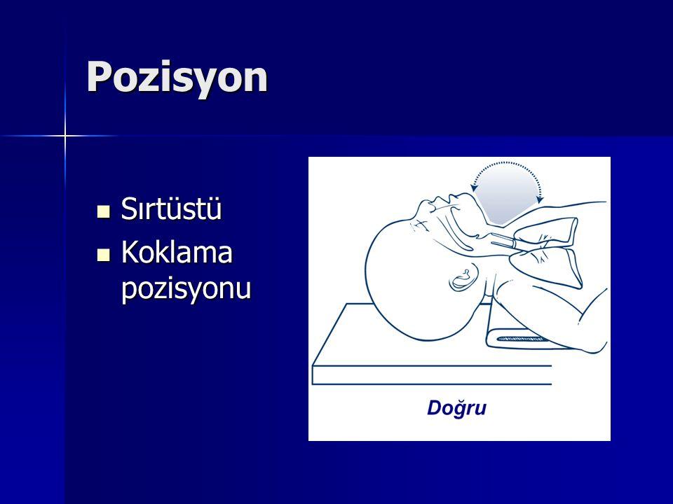 Pozisyon Sırtüstü Sırtüstü Koklama pozisyonu Koklama pozisyonu
