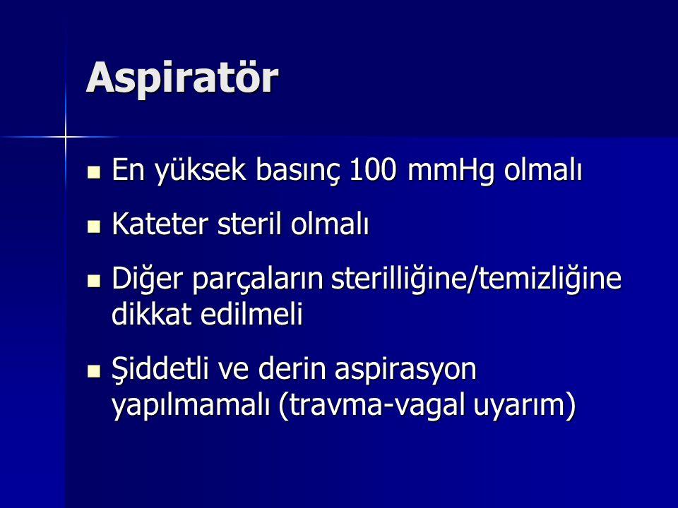 Aspiratör En yüksek basınç 100 mmHg olmalı En yüksek basınç 100 mmHg olmalı Kateter steril olmalı Kateter steril olmalı Diğer parçaların sterilliğine/temizliğine dikkat edilmeli Diğer parçaların sterilliğine/temizliğine dikkat edilmeli Şiddetli ve derin aspirasyon yapılmamalı (travma-vagal uyarım) Şiddetli ve derin aspirasyon yapılmamalı (travma-vagal uyarım)