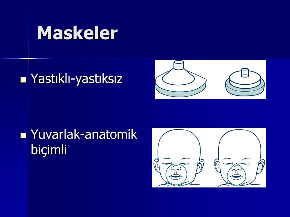 Maskeler Yastıklı-yastıksız Yastıklı-yastıksız Yuvarlak-anatomik biçimli Yuvarlak-anatomik biçimli