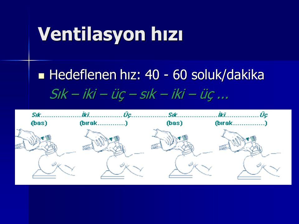 Ventilasyon hızı Hedeflenen hız: 40 - 60 soluk/dakika Hedeflenen hız: 40 - 60 soluk/dakika Sık – iki – üç – sık – iki – üç...