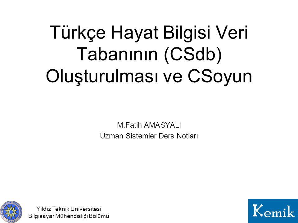 Yıldız Teknik Üniversitesi Bilgisayar Mühendisliği Bölümü Türkçe Hayat Bilgisi Veri Tabanının (CSdb) Oluşturulması ve CSoyun M.Fatih AMASYALI Uzman Si