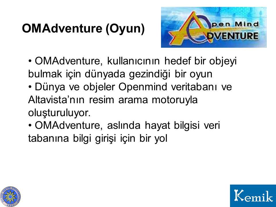 OMAdventure (Oyun) OMAdventure, kullanıcının hedef bir objeyi bulmak için dünyada gezindiği bir oyun Dünya ve objeler Openmind veritabanı ve Altavista