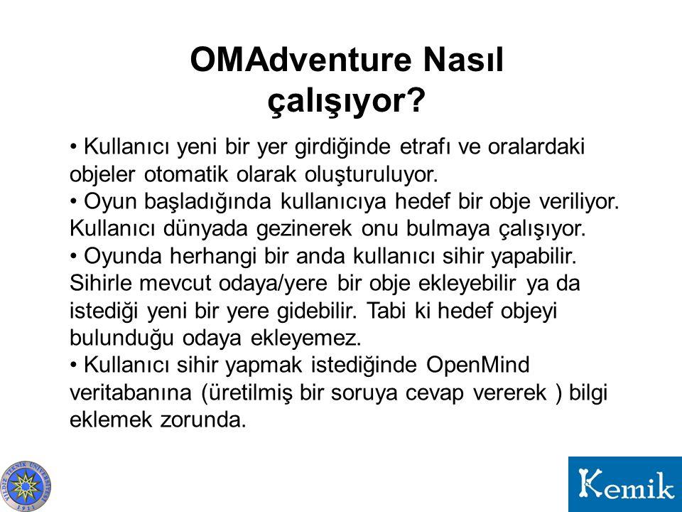 OMAdventure Nasıl çalışıyor? Kullanıcı yeni bir yer girdiğinde etrafı ve oralardaki objeler otomatik olarak oluşturuluyor. Oyun başladığında kullanıcı