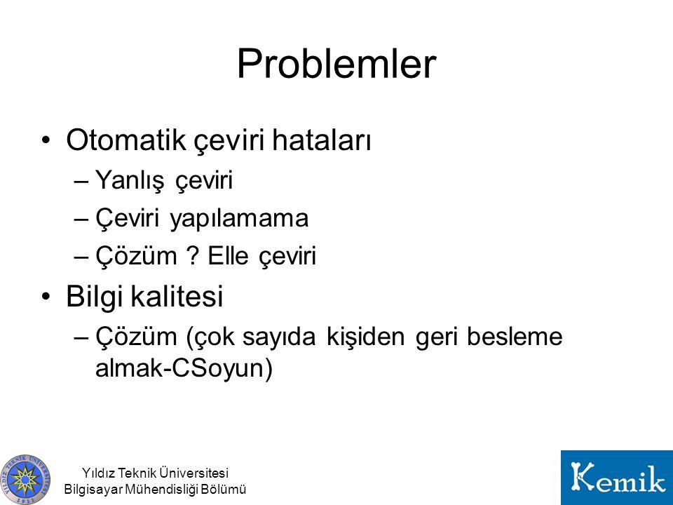 Yıldız Teknik Üniversitesi Bilgisayar Mühendisliği Bölümü Problemler Otomatik çeviri hataları –Yanlış çeviri –Çeviri yapılamama –Çözüm ? Elle çeviri B