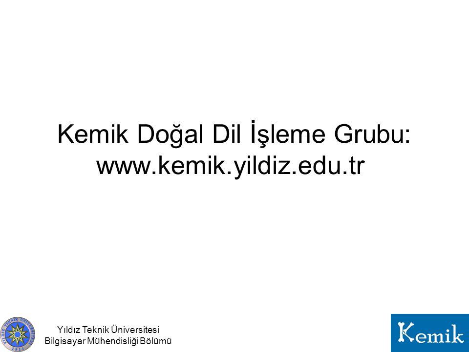 Yıldız Teknik Üniversitesi Bilgisayar Mühendisliği Bölümü Kemik Doğal Dil İşleme Grubu: www.kemik.yildiz.edu.tr