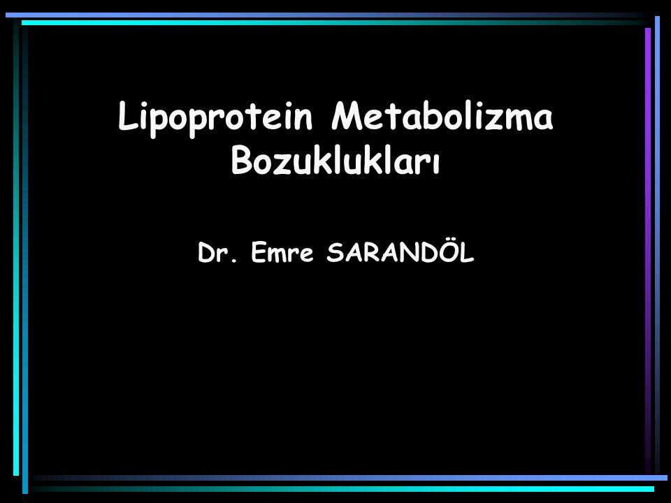 Ailesel Hiperkolesterolemi (heterozigot) 1/500 Kolesterol > 300 mg/dL LDL-K > 250 mg/dL Trigliserit düzeyleri normal Koroner kalp hastalığı erkeklerde 45, kadınlarda 55 yaş öncesinde görülür