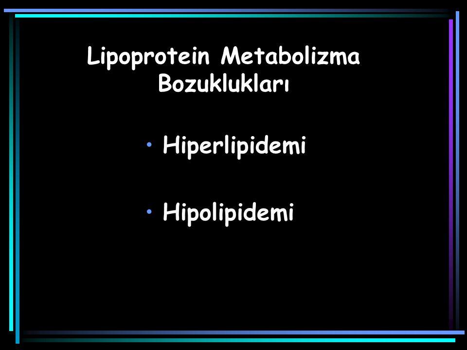 HİPERLİPİDEMİ: Toplum dağılımının en yüksek % 5-10'u Trigliserit > 200 mg/dL Kolesterol > 240 mg/dL Çocuklarda trigliserit > 140 mg/dL kolesterol > 200 mg/dL