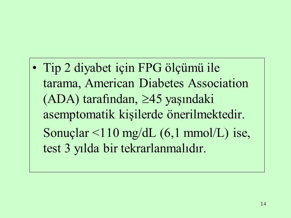 14 Tip 2 diyabet için FPG ölçümü ile tarama, American Diabetes Association (ADA) tarafından,  45 yaşındaki asemptomatik kişilerde önerilmektedir.