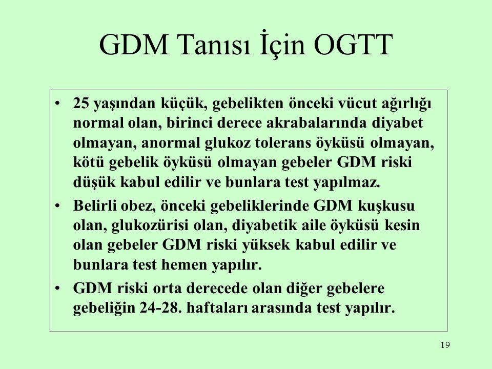 19 GDM Tanısı İçin OGTT 25 yaşından küçük, gebelikten önceki vücut ağırlığı normal olan, birinci derece akrabalarında diyabet olmayan, anormal glukoz tolerans öyküsü olmayan, kötü gebelik öyküsü olmayan gebeler GDM riski düşük kabul edilir ve bunlara test yapılmaz.