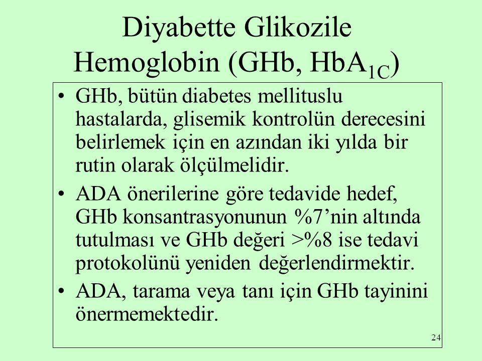 24 Diyabette Glikozile Hemoglobin (GHb, HbA 1C ) GHb, bütün diabetes mellituslu hastalarda, glisemik kontrolün derecesini belirlemek için en azından iki yılda bir rutin olarak ölçülmelidir.