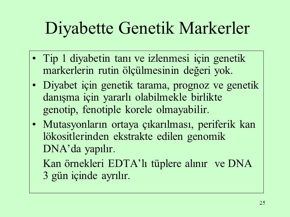 25 Diyabette Genetik Markerler Tip 1 diyabetin tanı ve izlenmesi için genetik markerlerin rutin ölçülmesinin değeri yok.