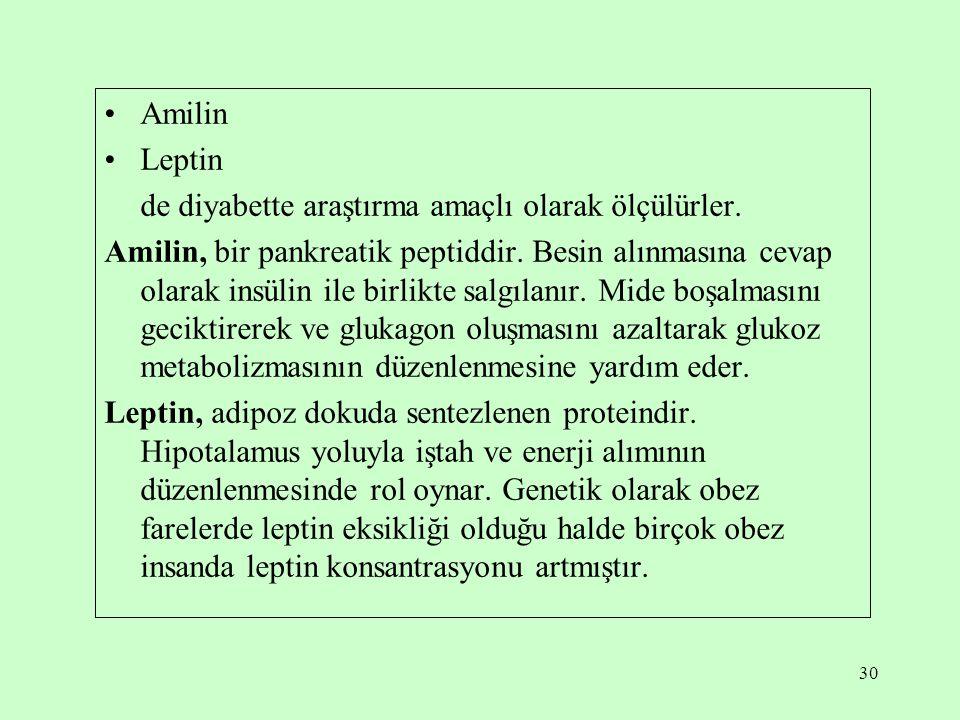 30 Amilin Leptin de diyabette araştırma amaçlı olarak ölçülürler.