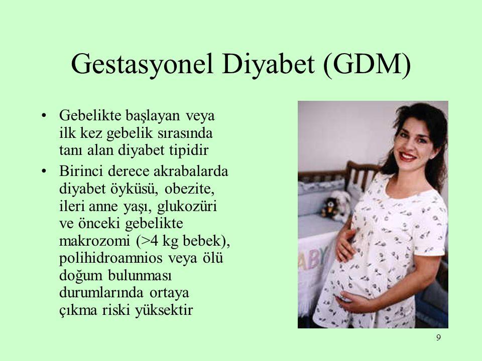 9 Gestasyonel Diyabet (GDM) Gebelikte başlayan veya ilk kez gebelik sırasında tanı alan diyabet tipidir Birinci derece akrabalarda diyabet öyküsü, obezite, ileri anne yaşı, glukozüri ve önceki gebelikte makrozomi (>4 kg bebek), polihidroamnios veya ölü doğum bulunması durumlarında ortaya çıkma riski yüksektir