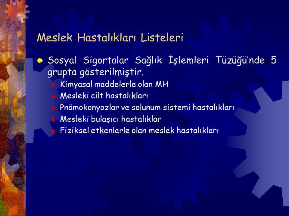 Meslek Hastalıkları Listeleri  Sosyal Sigortalar Sağlık İşlemleri Tüzüğü'nde 5 grupta gösterilmiştir.  Kimyasal maddelerle olan MH  Mesleki cilt ha
