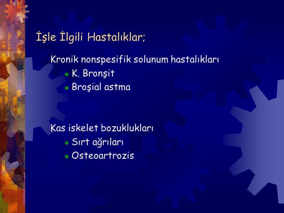 İşle İlgili Hastalıklar; Kronik nonspesifik solunum hastalıkları  K. Bronşit  Broşial astma Kas iskelet bozuklukları  Sırt ağrıları  Osteoartrozis