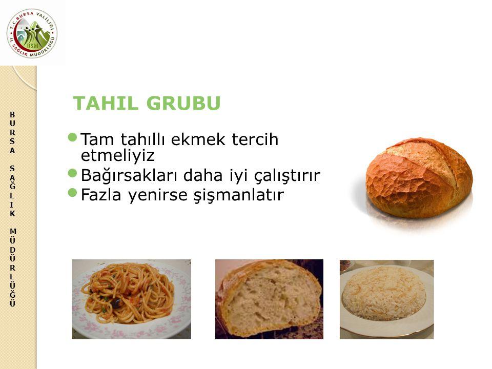 BURSASAĞLIKMÜDÜRLÜĞÜBURSASAĞLIKMÜDÜRLÜĞÜ TAHIL GRUBU Tam tahıllı ekmek tercih etmeliyiz Bağırsakları daha iyi çalıştırır Fazla yenirse şişmanlatır